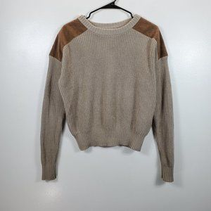 Anthropologie Ecote  Shoulder Suede Patch Sweater